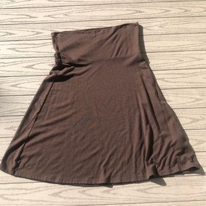 Cozy Brown A-Line Skirt with Foldover Waist